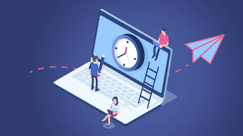 Computer Illustration with clock